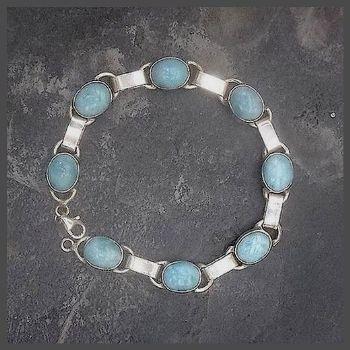 8 Oval Stone Sterling Silver Larimar Bracelet